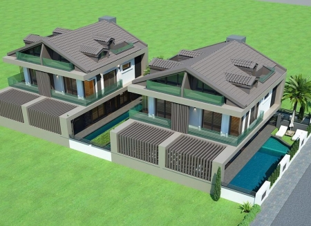 Akarcada Merkezi Konumda Satılık Lüks İkiz Villalar